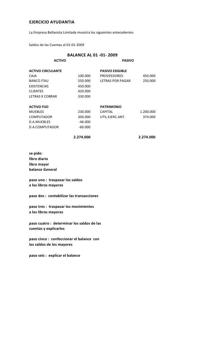 EJERCICIO AYUDANTIA  La Empresa Bellavista Limitada muestra los siguientes antecedentes   Saldos de las Cuentas al 01-01-2...