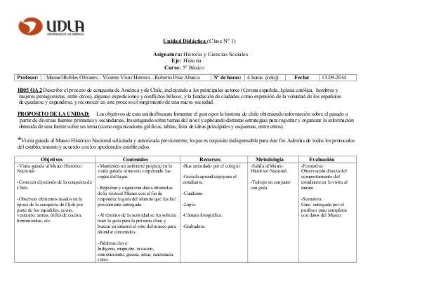 Unidad Didáctica (Clase Nº 1) Asignatura: Historia y Ciencias Sociales Eje: Historia Curso: 5º Básico Profesor: : Manuel R...