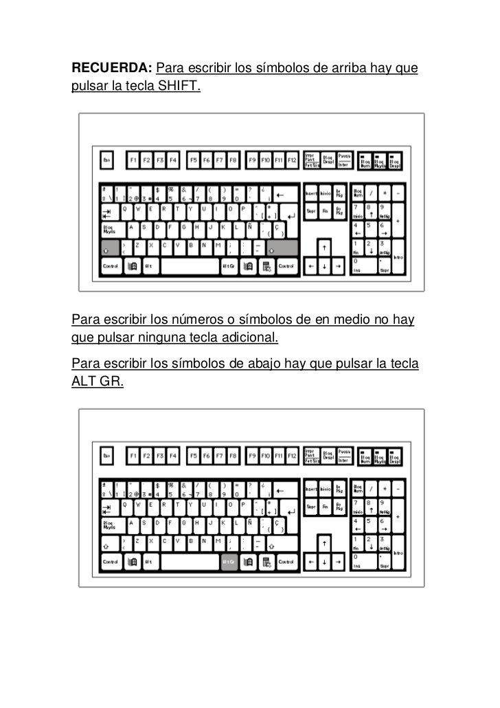 RECUERDA: Para escribir los símbolos de arriba hay quepulsar la tecla SHIFT.Para escribir los números o símbolos de en med...