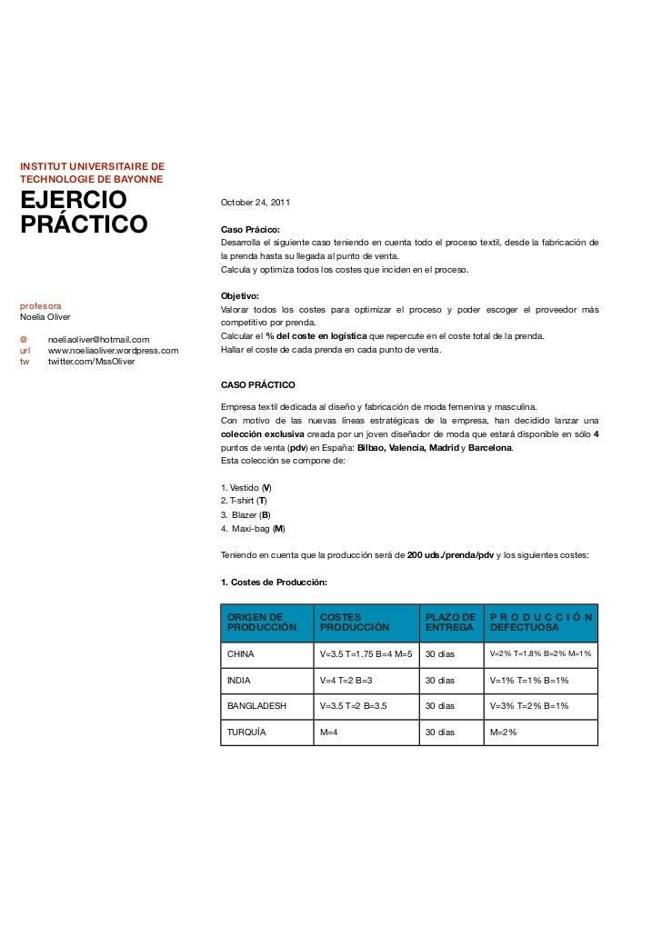 INSTITUT UNIVERSITAIRE DETECHNOLOGIE DE BAYONNEEJERCIO                                 October 24, 2011PRÁCTICO           ...