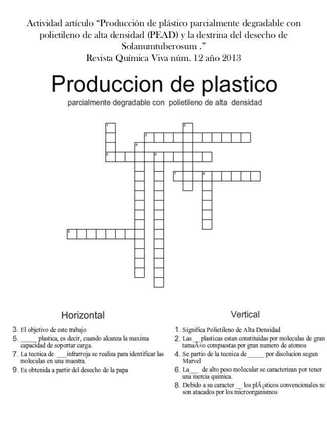 """Actividad artículo """"Producción de plástico parcialmente degradable con polietileno de alta densidad (PEAD) y la dextrina d..."""