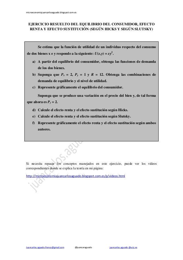 microeconomiajuancarlosaguado.blogspot.com.es  EJERCICIO RESUELTO DEL EQUILIBRIO DEL CONSUMIDOR, EFECTO RENTA Y EFECTO SUS...
