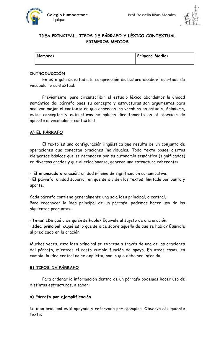 Colegio Humberstone                       Prof. Yosselin Rivas Morales          Iquique    IDEA PRINCIPAL, TIPOS DE PÁRRAF...