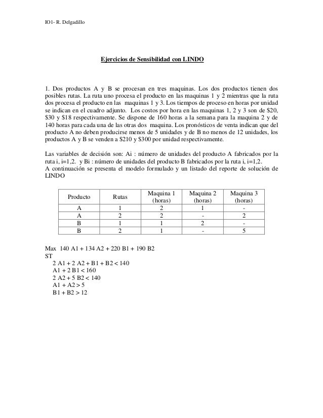 IO1- R. Delgadillo                     Ejercicios de Sensibilidad con LINDO1. Dos productos A y B se procesan en tres maqu...