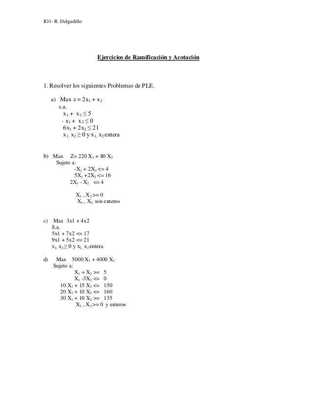 IO1- R. Delgadillo                          Ejercicios de Ramificación y Acotación1. Resolver los siguientes Problemas de ...