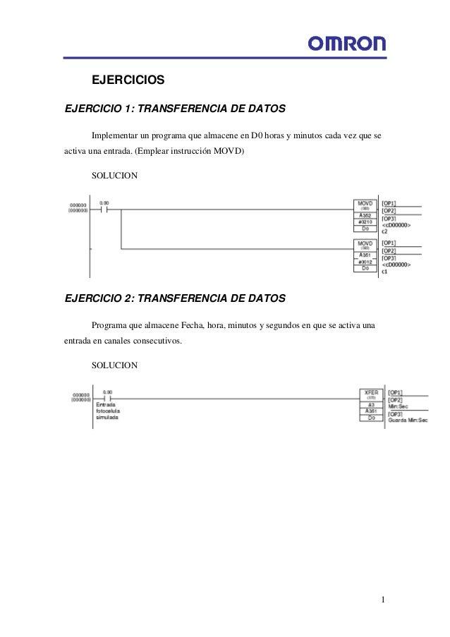 1 EJERCICIOS EJERCICIO 1: TRANSFERENCIA DE DATOS Implementar un programa que almacene en D0 horas y minutos cada vez que s...