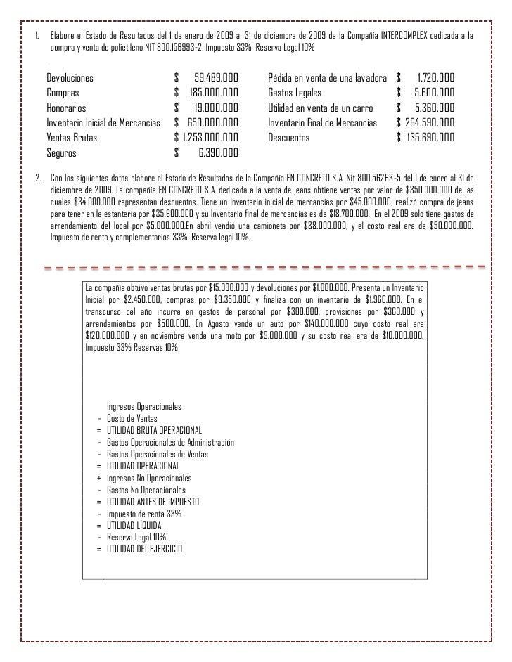 1.    Elabore el Estado de Resultados del 1 de enero de 2009 al 31 de diciembre de 2009 de la Compañía INTERCOMPLEX dedica...