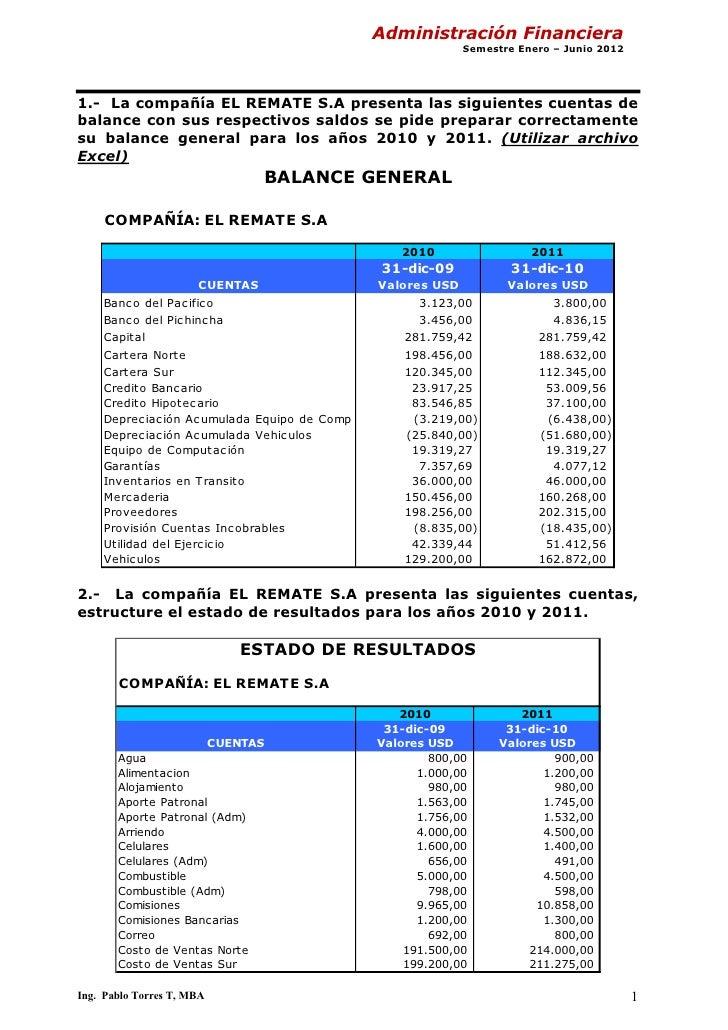 Administración Financiera                                                         Semestre Enero – Junio 20121.- La compañ...