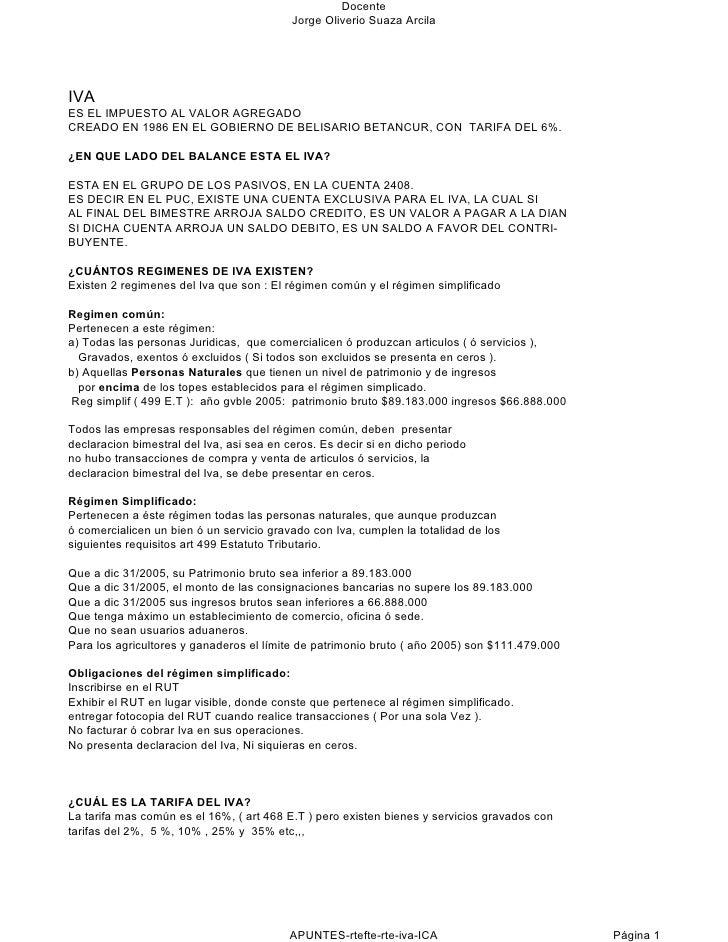 Docente                                           Jorge Oliverio Suaza ArcilaIVAES EL IMPUESTO AL VALOR AGREGADOCREADO EN ...
