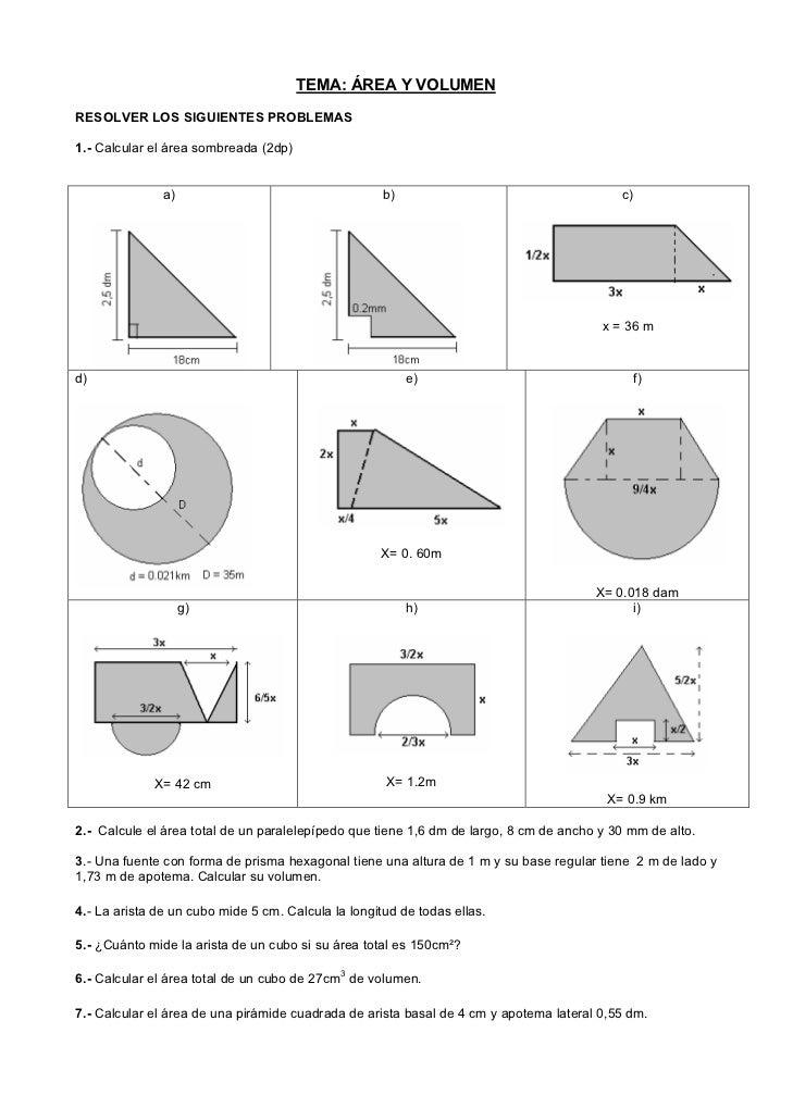 TEMA: ÁREA Y VOLUMENRESOLVER LOS SIGUIENTES PROBLEMAS1.- Calcular el área sombreada (2dp)               a)                ...