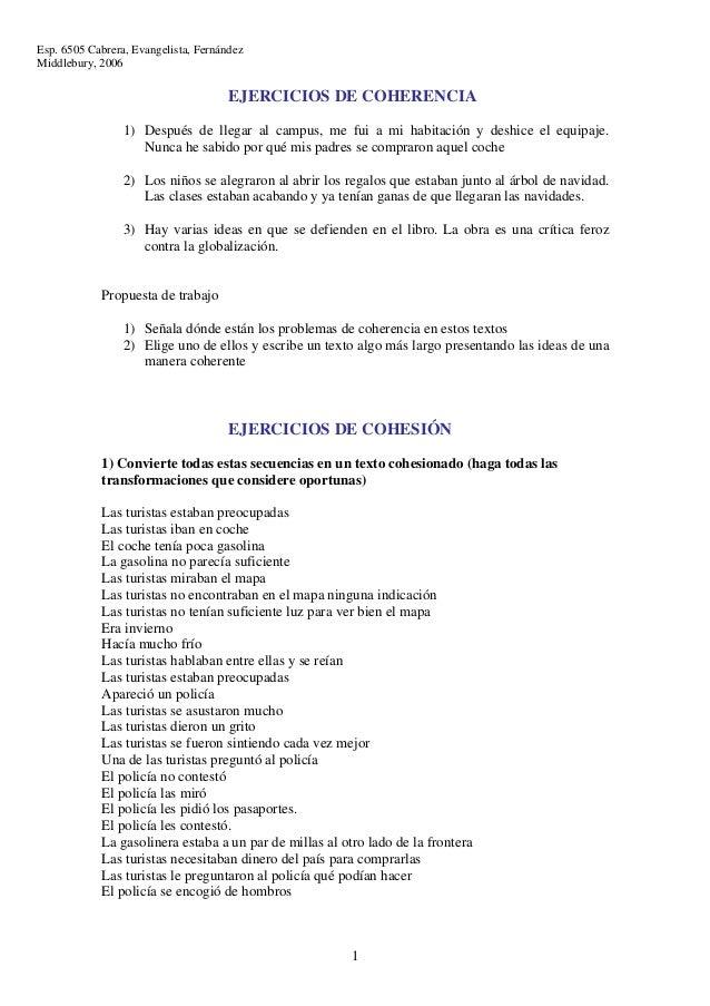 Esp. 6505 Cabrera, Evangelista, FernándezMiddlebury, 2006                                      EJERCICIOS DE COHERENCIA   ...
