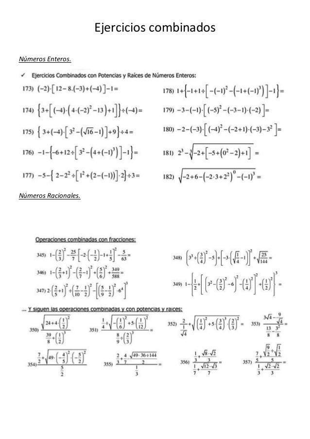 Ejercicios combinados  Números Enteros.  Números Racionales.