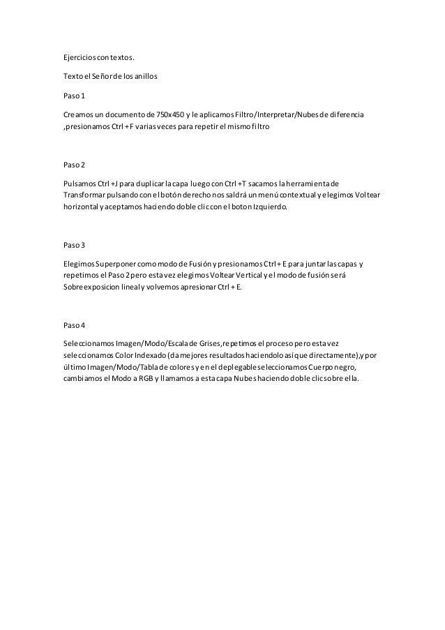 Ejercicioscontextos. Textoel Señorde losanillos Paso1 Creamosun documentode 750x450 y le aplicamosFiltro/Interpretar/Nubes...