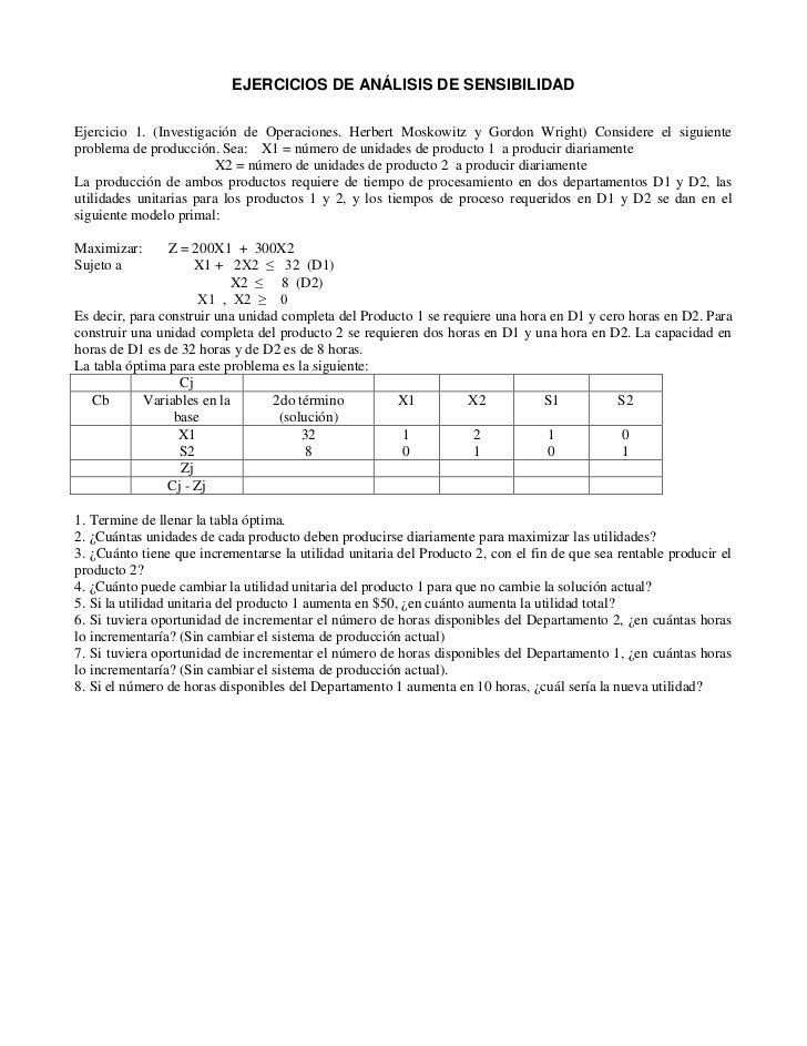 EJERCICIOS DE ANÁLISIS DE SENSIBILIDADEjercicio 1. (Investigación de Operaciones. Herbert Moskowitz y Gordon Wright) Consi...