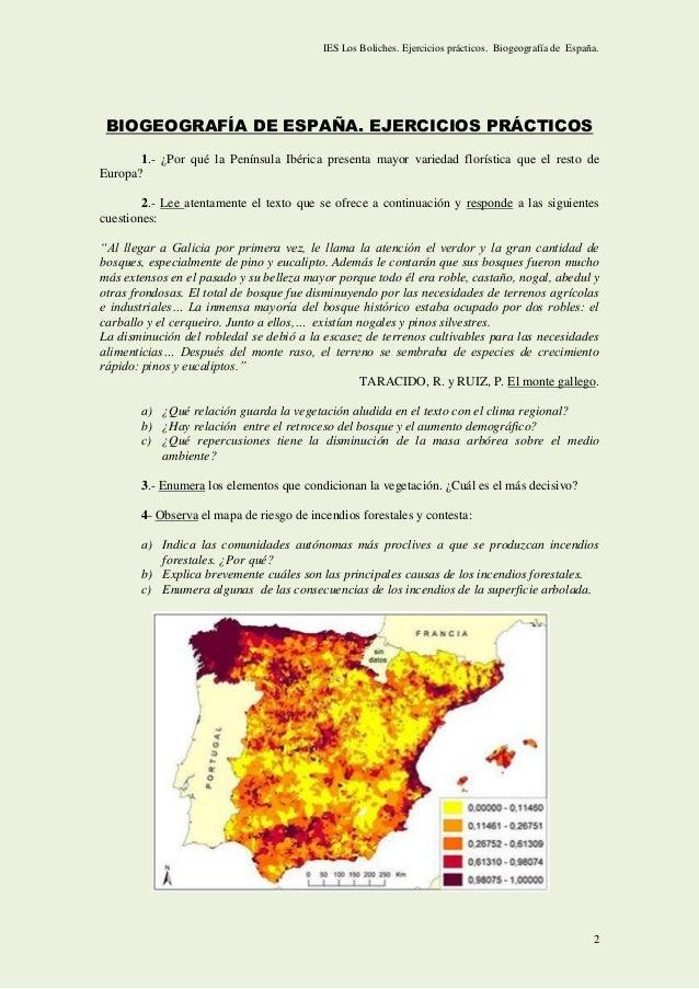 Ejercicios de BIOGEOGRAFÍA y exámenes PAU Andalucía. Slide 2