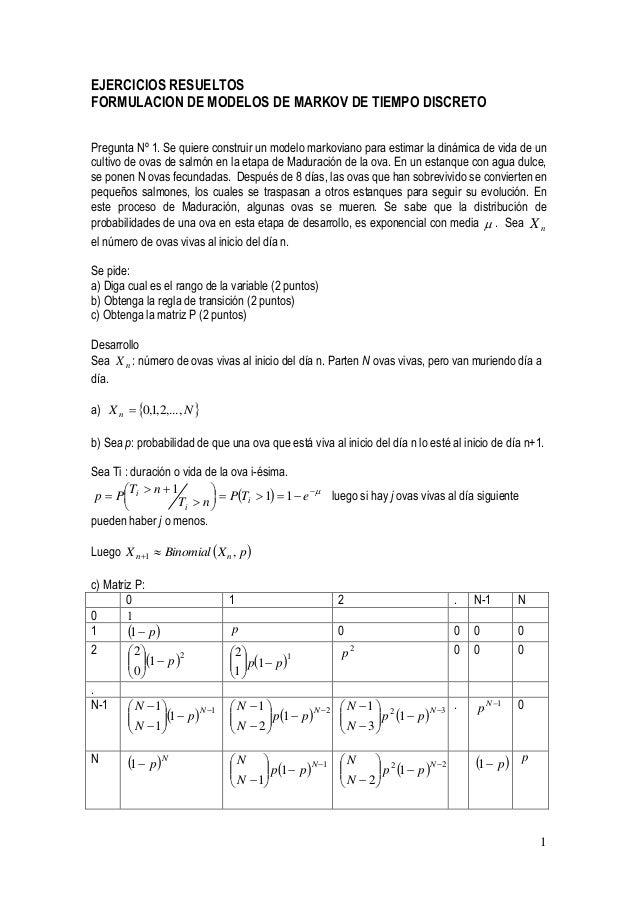 PDF) EJERCICIOS RESUELTOS DE CADENAS DE MARKOV
