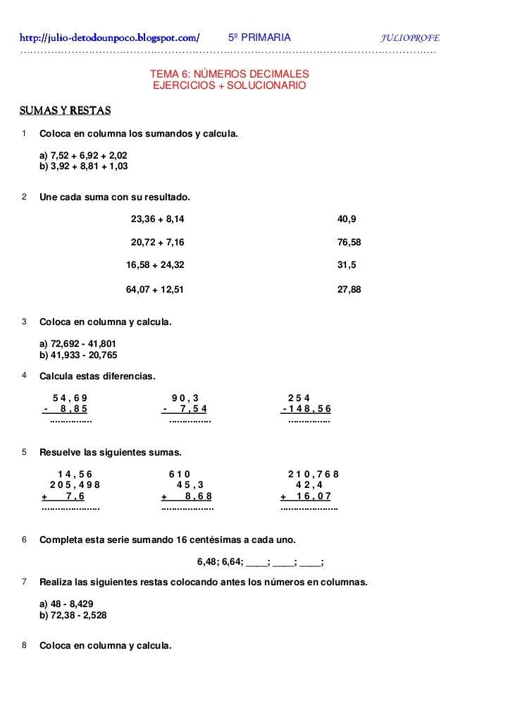 Ejercicios con Decimales + Solucionario