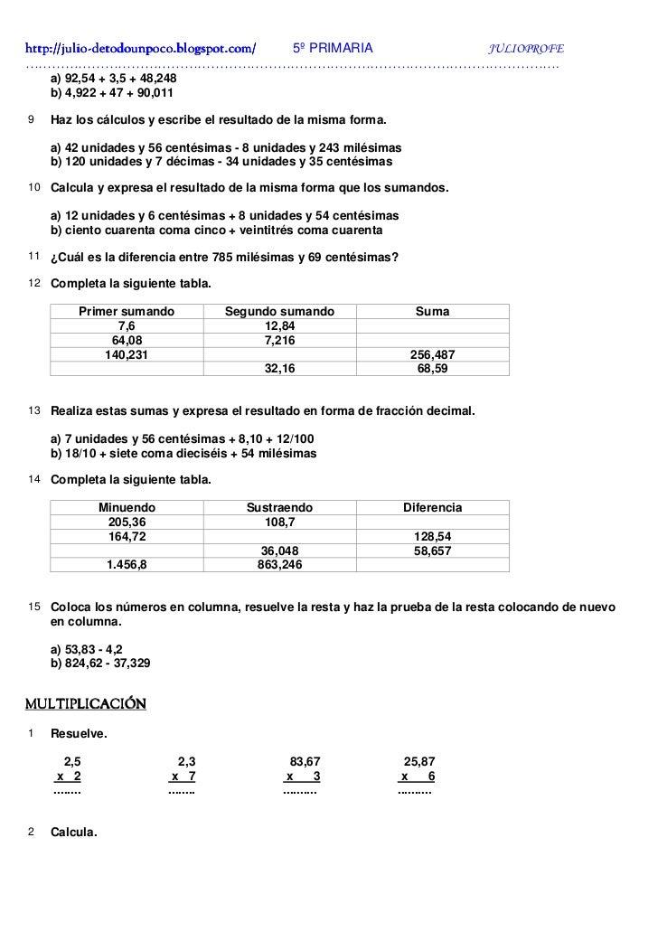 Ejercicios con Decimales + Solucionario Slide 2
