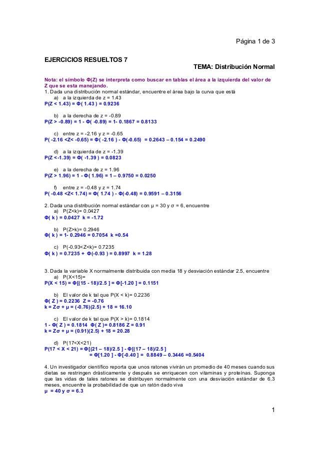 Página 1 de 3EJERCICIOS RESUELTOS 7                                                               TEMA: Distribución Norma...