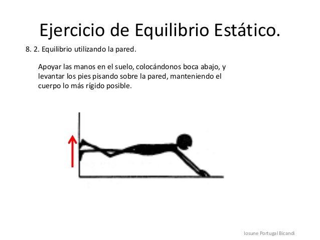 Ejercicio de Equilibrio Estático.Iosune Portugal Bicandi8. 2. Equilibrio utilizando la pared.Apoyar las manos en el suelo,...