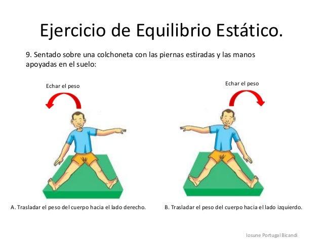 Ejercicio de Equilibrio Estático.Iosune Portugal Bicandi9. Sentado sobre una colchoneta con las piernas estiradas y las ma...
