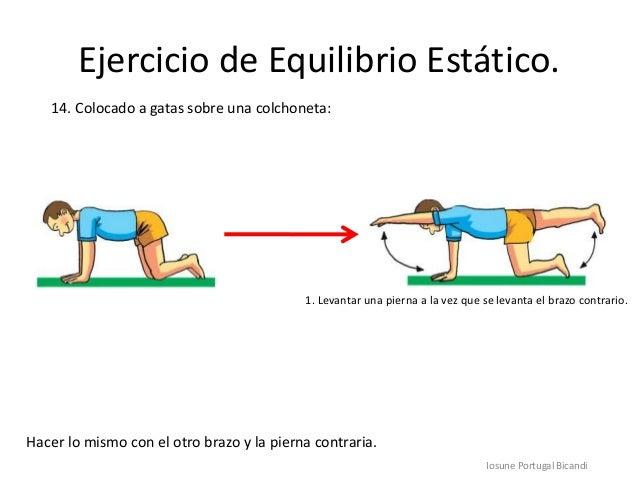 Ejercicio de Equilibrio Estático.Iosune Portugal Bicandi14. Colocado a gatas sobre una colchoneta:Hacer lo mismo con el ot...