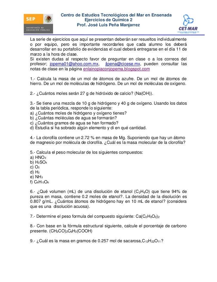 Centro de Estudios Tecnológicos del Mar en Ensenada                            Ejercicios de Química 2                    ...