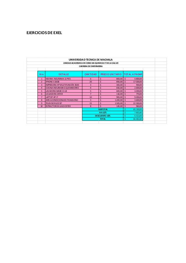 EJERCICIOS DE EXEL Nro DETALLE CANTIDAD PRECIO UNITARIO TOTAL A PAGAR 1 NEVERA INDURAMA 11 PIES 6 800,00$ 4.800,00$ 2 IPHO...