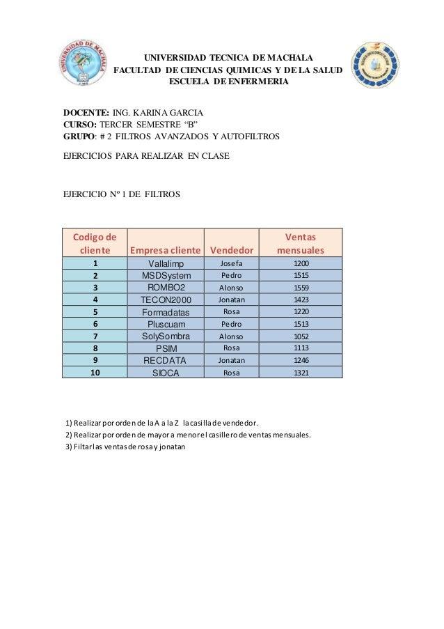 UNIVERSIDAD TECNICA DE MACHALA FACULTAD DE CIENCIAS QUIMICAS Y DE LA SALUD ESCUELA DE ENFERMERIA DOCENTE: ING. KARINA GARC...