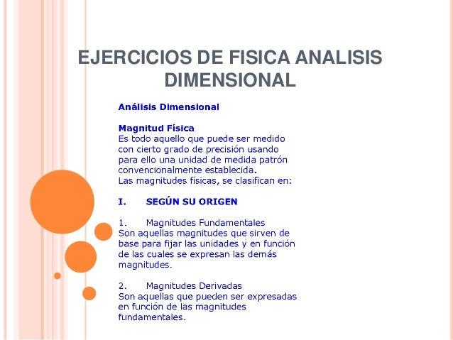 EJERCICIOS DE FISICA ANALISIS DIMENSIONAL