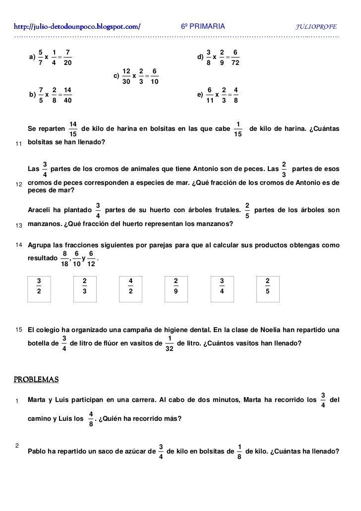 Ejercicios De Fracciones Soluciones 6º