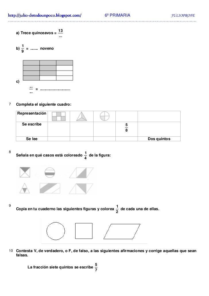 Ejercicios de Fracciones + Soluciones 6º Slide 2