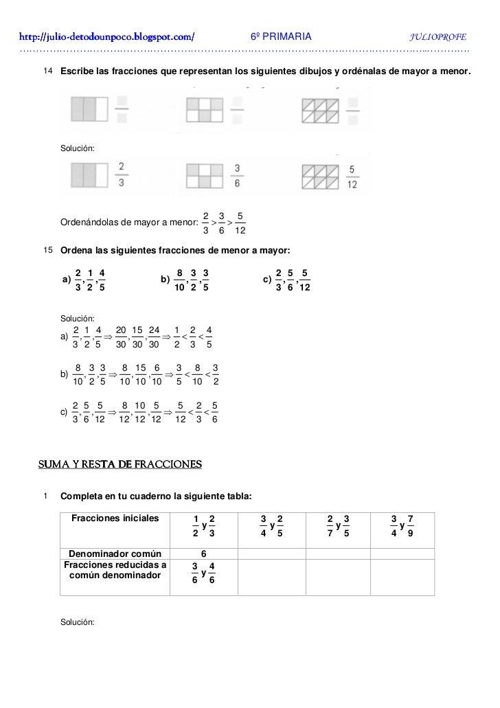 Ejercicios de Fracciones + Soluciones 6º