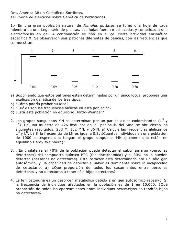 Dra. América Nitxin Castañeda Sortibrán.1er. Serie de ejercicios sobre Genética de Poblaciones.1.- En una gran población n...