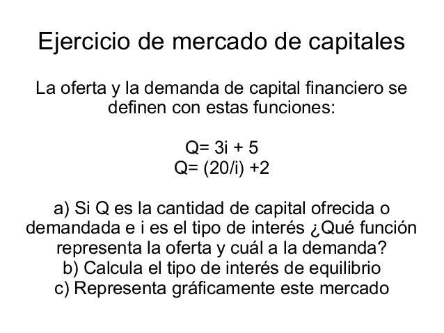 Ejercicio de mercado de capitales La oferta y la demanda de capital financiero se          definen con estas funciones:   ...