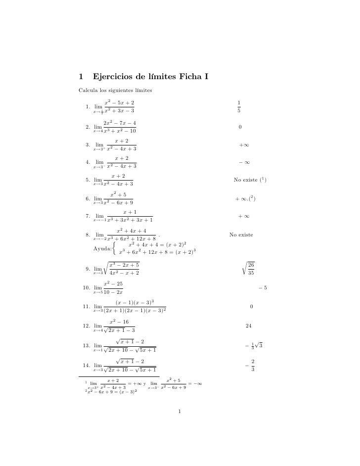 1          Ejercicios de límites Ficha ICalcula los siguientes límites                x2 5x + 2                           ...