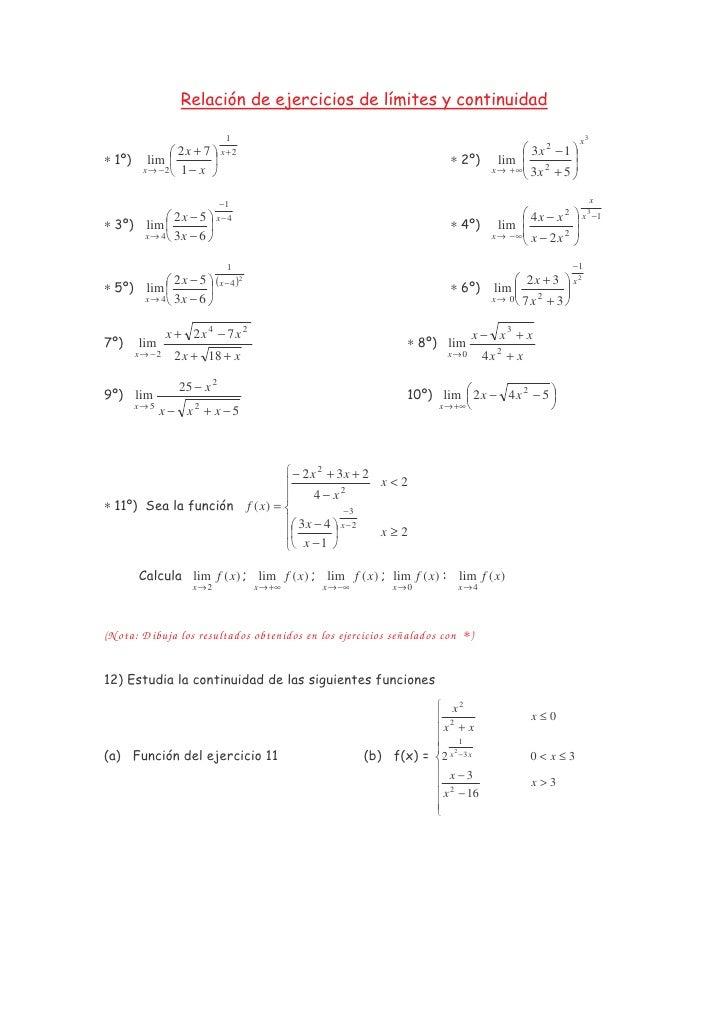 Relación de ejercicios de límites y continuidad                             1                                             ...