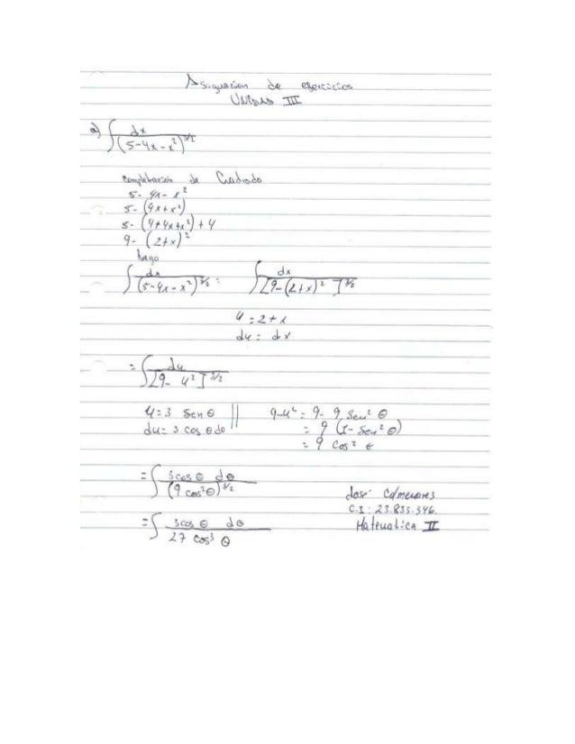 Ejercicios de matematica 2, unidad 3