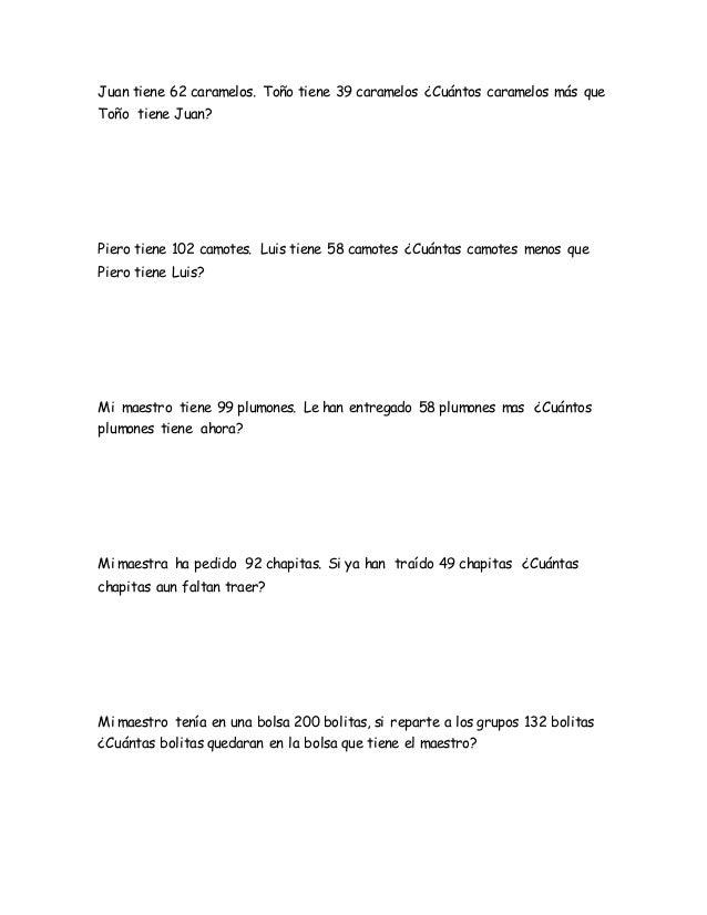 Ejercicios De Matematica Problemas 2do Grado De Primaria