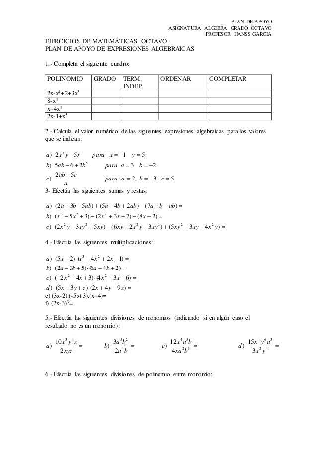 Hermosa Ejercicios De Matemáticas Para El Grado 8 Imagen - hojas de ...