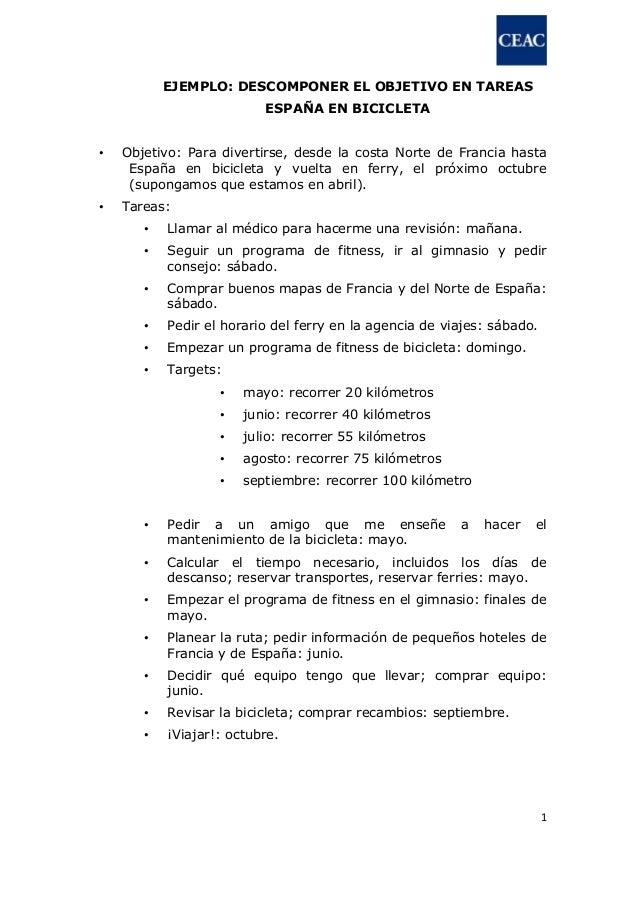 1 EJEMPLO: DESCOMPONER EL OBJETIVO EN TAREAS ESPAÑA EN BICICLETA • Objetivo: Para divertirse, desde la costa Norte de Fran...