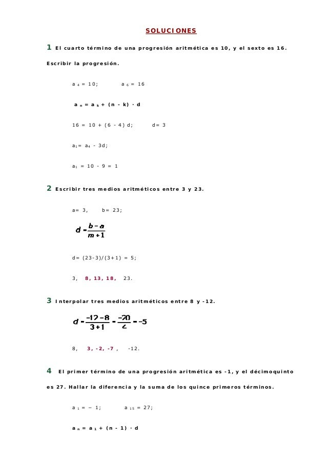 Ejercicios de progresiones aritmeticas
