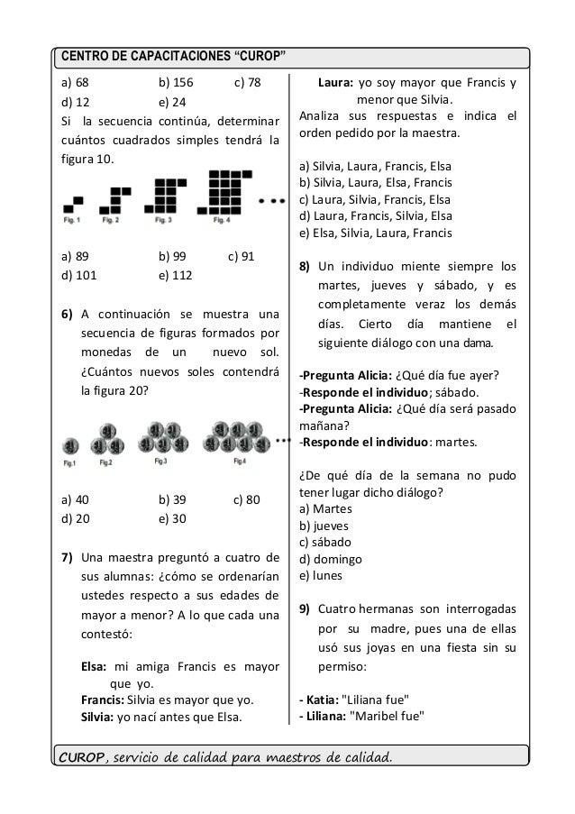 Ejercicios de razonamiento logico para nombramiento docente 2015 Slide 2