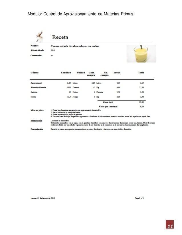 Ejercicios de recepci n organizaci n y control de - Aprovisionamiento de materias primas en cocina ...
