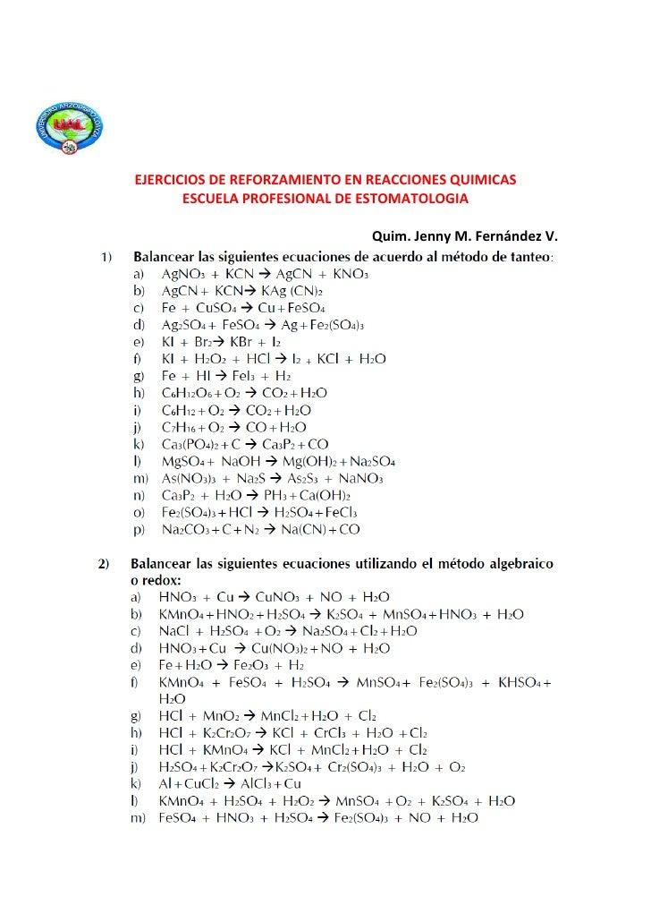 EJERCICIOS DE REFORZAMIENTO EN REACCIONES QUIMICAS       ESCUELA PROFESIONAL DE ESTOMATOLOGIA                             ...