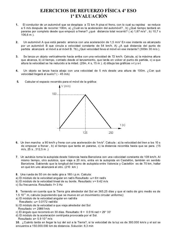 Fisica Cuarto Eso | De Refuerzo Fisica 4º Eso 1ª Evaluacion
