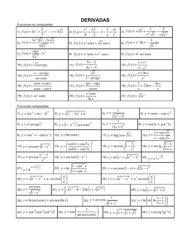 DERIVADASFunciones no compuestas:                 2 2                                                    x 4 3x 2    3 6  ...
