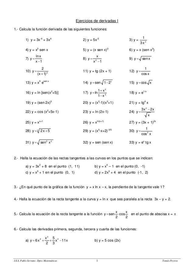 Ejercicios de derivadas I  1.- Calcula la función derivada de las siguientes funciones:  1) y = 3x-4 + 3x4 2) y = 5x-2 3) ...