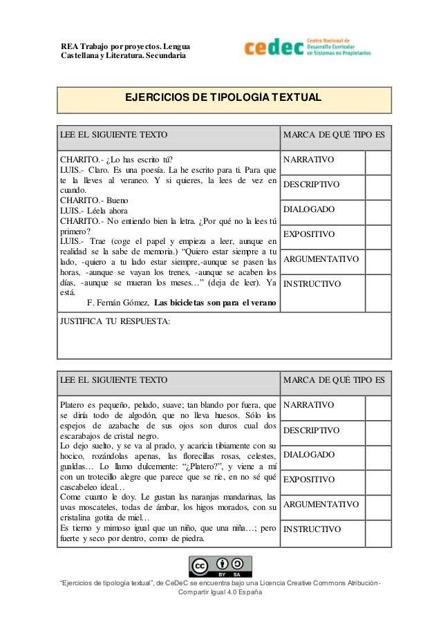 """REA Trabajo por proyectos.Lengua Castellana y Literatura. Secundaria """"Ejercicios de tipología textual"""", de CeDeC se encuen..."""