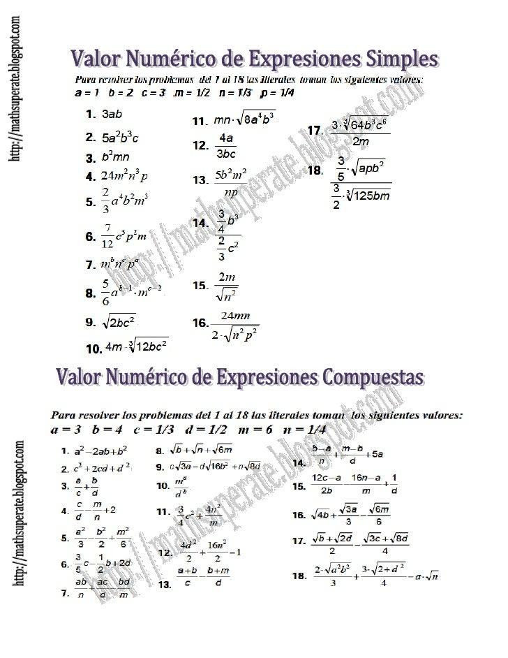 Ejercicios de valor numérico